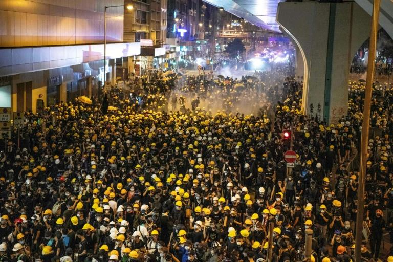 Hong Kong police fired tear gas on protesters during a demonstration that had targeted China's office in the city