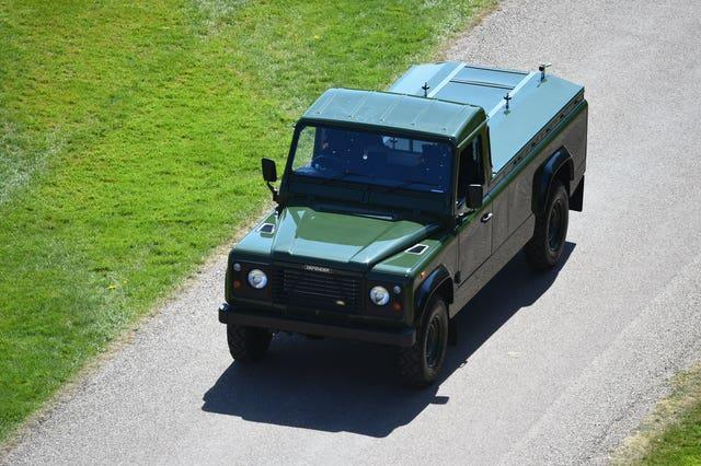 The modified Jaguar Land Rover that will carry the coffin of the Duke of Edinburgh arrives for his funeral