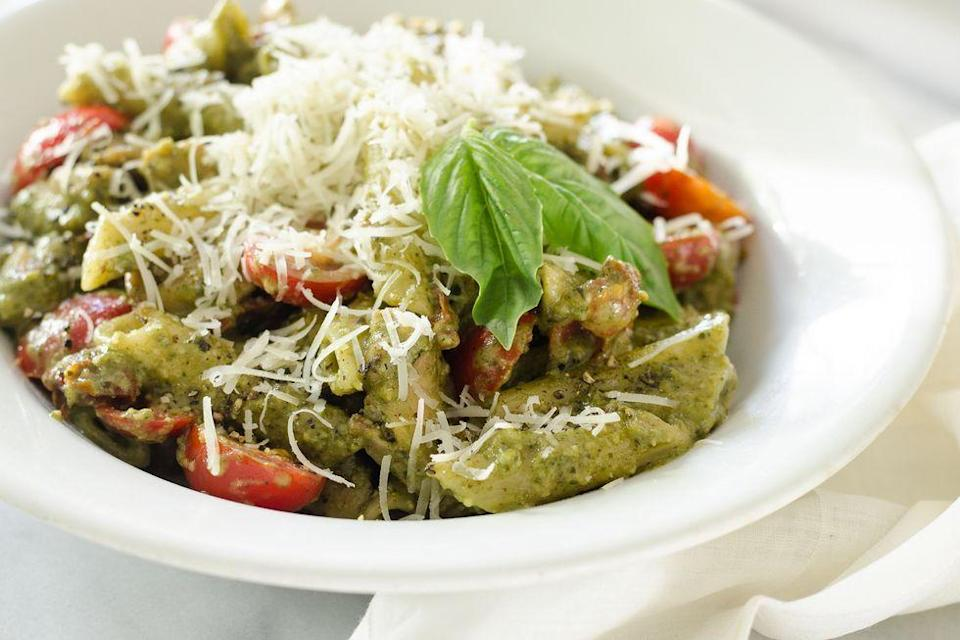 """<p>One-pot chicken pesto pasta is here to make weeknight dinners easier. You can make your own pesto sauce or just buy a jar at the store.</p><p><strong><a href=""""https://www.thepioneerwoman.com/food-cooking/recipes/a93847/one-pot-chicken-pesto-pasta/"""" rel=""""nofollow noopener"""" target=""""_blank"""" data-ylk=""""slk:Get the recipe"""" class=""""link rapid-noclick-resp"""">Get the recipe</a>.</strong></p>"""
