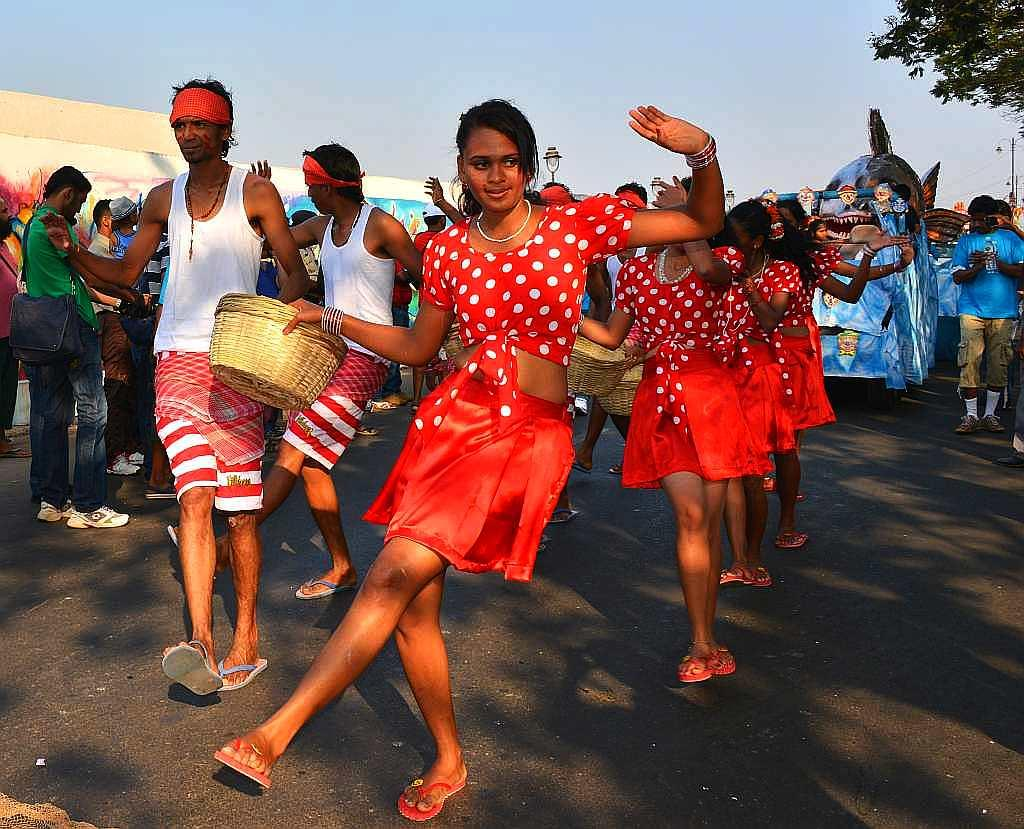 Kunbi dancers perform at the Goa Carnival 2013. Kunbis were among the earliest settlers in Goa who retain their cultural practices despite converting to Christianity.