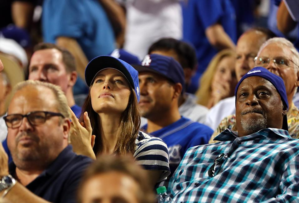 <p>Jessica Biel celebrates after Joc Pederson #31 of the Los Angeles Dodgers hits a home run in the fifth inning of Game 2 of the 2017 World Series against the Houston Astros at Dodger Stadium on Wednesday, October 25, 2017 in Los Angeles, California. (Photo by Alex Trautwig/MLB Photos via Getty Images) *** Local Caption *** Jessica Biel </p>
