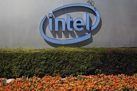 FILE PHOTO: The logo of Intel, the world's largest chipmaker, is seen at their offices in Jerusalem