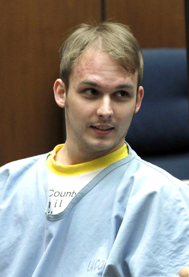 """Nicholas Prugo, is seen during his sentencing at the Criminal Courts building in Los Angeles on Monday, April 15,2013. A judge has sentenced Prugo the alleged ringleader of the group that burglarized celebrities' homes to time served. Prugo is the final defendant in the so-called """"Bling Ring"""" to be sentenced. He pleaded no contest in March 2012 to stealing from Lindsay Lohan and reality star Audrina Patridge in exchange for a two year prison sentence. (AP Photo/Nick Ut)"""