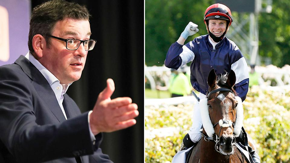 Pictured here, Victorian premier Dan Andrews and 2020 Melbourne Cup winner Twilight Payment.