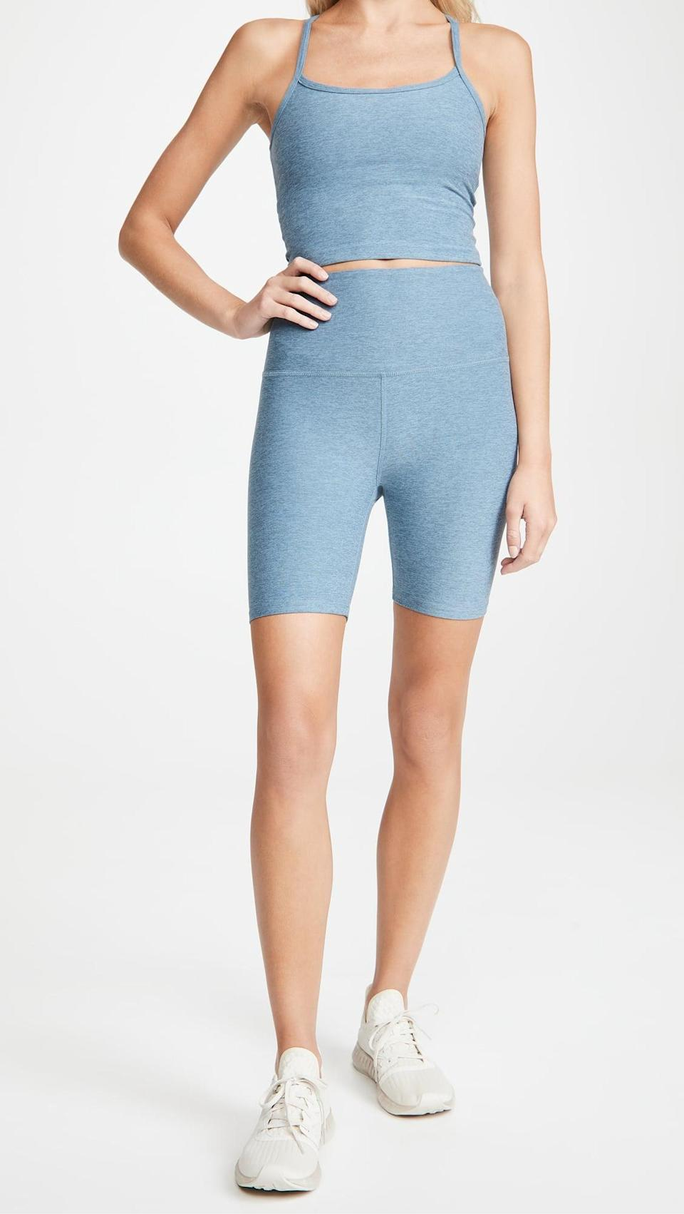 <p>We're obsessed with the color of these <span>Beyond Yoga High Waisted Biker Shorts</span> ($68).</p>