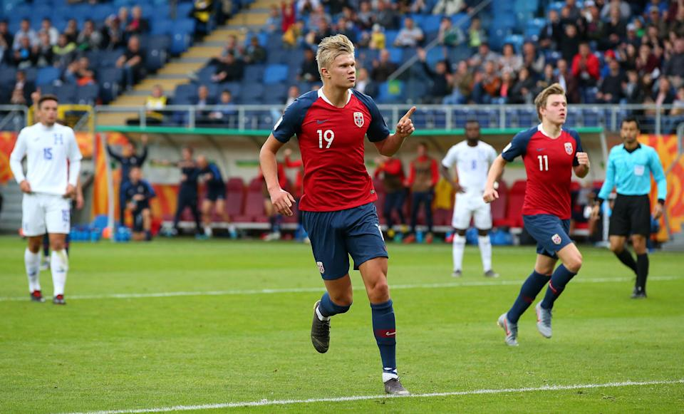 Erling Braut Haaland celebrates one of his nine goals in Norway's 12-0 win.