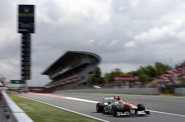 Force India's Adrian Sutil during third practice at the Circuit de Catalunya, Barcelona.