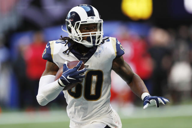 Los Angeles Rams running back Todd Gurley (30) runs against the Atlanta Falcons during the second half of an NFL football game, Sunday, Oct. 20, 2019, in Atlanta. (AP Photo/John Bazemore)
