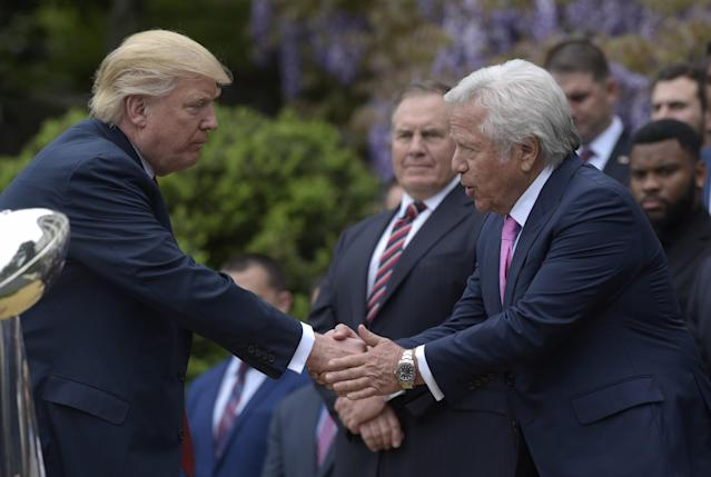 <p>President Donald Trump shakes hands with New England Patriots owner Robert Kraft, accompanied by head coach Bill Belichick, center, during a ceremony on the South Lawn of the White House in Washington, Wednesday, April 19, 2017, where the president honored the Super Bowl Champion New England Patriots for their Super Bowl LI victory.. (AP Photo/Susan Walsh) </p>