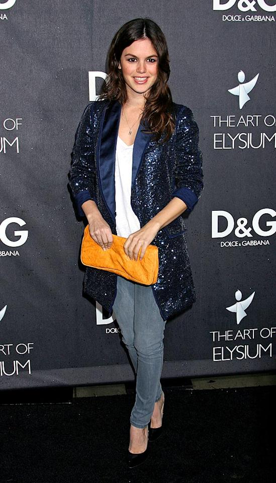 "Rachel Bilson was dressed appropriately for a chilly LA night in a sparkly D&G jacket and skinny jeans. Russ Einhorn/<a href=""http://www.splashnewsonline.com"" target=""new"">Splash News</a> - December 15, 2008"