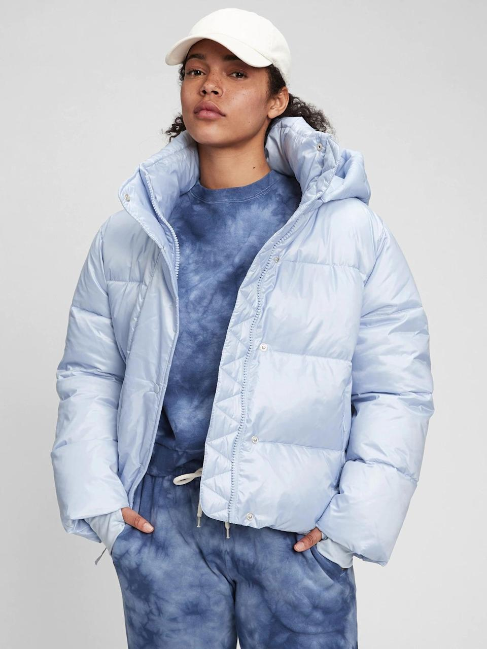 <p>When the wind starts whipping, you'll be happy to have this <span>Gap 100% Recycled Polyester Heavyweight Cropped Puffer Jacket</span> ($103, originally $148) in your arsenal. It comes in a bunch of different colors, but we love the ice blue.</p>
