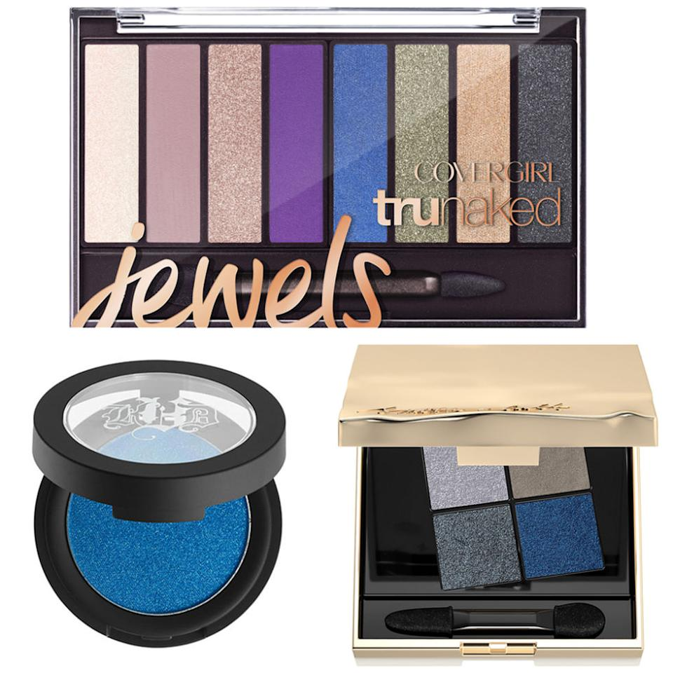 """<p><em>From left:</em><span><strong>Cover Girl</strong>Tru Naked Jewels Eye Shadow Palette, $12.99, <a rel=""""nofollow"""" href=""""http://www.ulta.com/jewels-trunaked-eyeshadow-palette?productId=xlsImpprod15191157&sku=2501695&_requestid=9384696"""">ulta.com</a>;</span><strong>Kat Von D</strong>Metal Crush Eyeshadow in Paranoid, $21, <a rel=""""nofollow"""" href=""""http://www.sephora.com/metal-crush-eyeshadow-P397923"""">sephora.com</a>;<span></span><strong>Sonia Kashuk</strong> Book of Eyes Eye Quad Collection in Ice Tears, $44, <a rel=""""nofollow"""" href=""""http://www.target.com/c/sonia-kashuk-brand-shop/-/N-5q0g7"""">target.com</a>.</p><p><span></span></p>"""