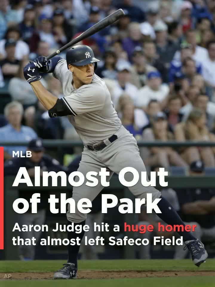 New York Yankees slugger Aaron Judge hit a ball so far Friday night that it nearly left Safeco Field in Seattle.