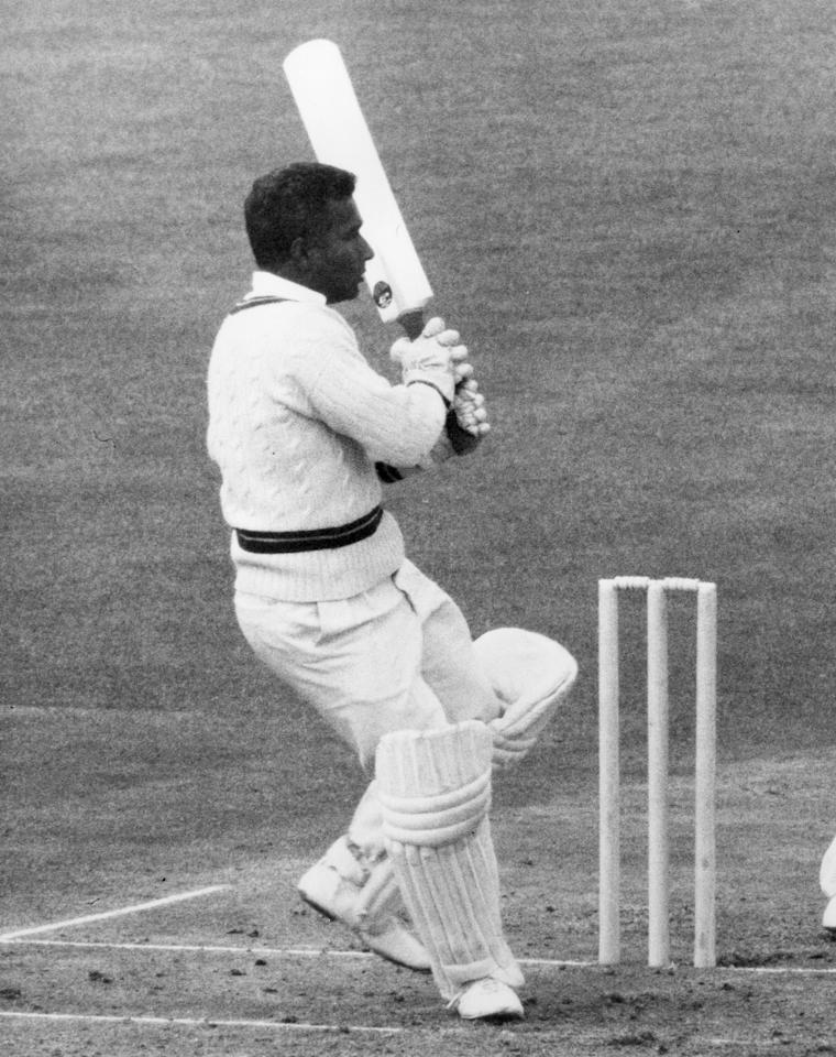 5th June 1968:  Guyanan-born West Indian cricketer Rohan Babulal Kanhai batting during one of the several seasons he played for Warwickshire.  (Photo by Central Press/Getty Images)