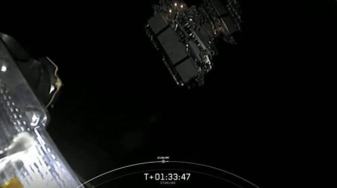 The Starlink satellites, top, drift away from the Falcon 9's second stage to wrap up SpaceX's thirteenth flight so far this year. / Credit: SpaceX