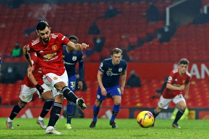 Spot on: Bruno Fernandes scored Manchester United's seventh goal in a 9-0 thrashing of Southampton