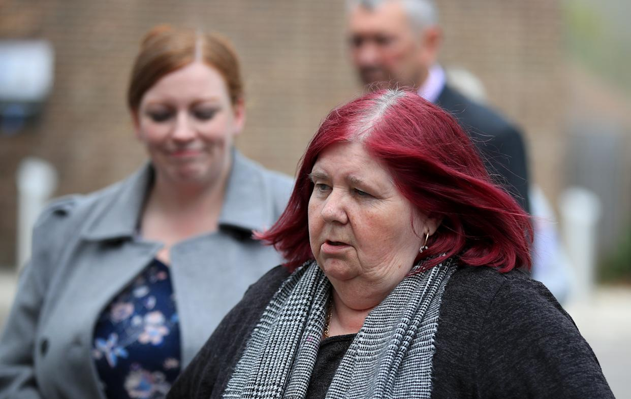 Michelle Hadaway, mother of Karen Hadaway, arrives Sussex Police Headquarters in Lewes, East Sussex, to read a statement after Jennifer Johnson, the ex-girlfriend of Babes in the Wood murderer Russell Bishop, was found guilty of perjury and perverting the course of justice over his infamous 1987 trial. Picture date: Monday May 17, 2021.