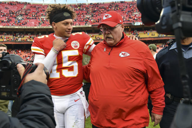 Andy Reid is 1-4 in the playoffs as Kansas City's head coach. This time, he has Patrick Mahomes. (AP)