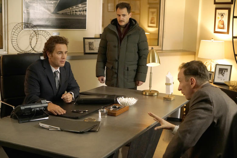 FARGO -- Year 3 -- Pictured (l-r): Ewan McGregor as Emmit Stussy, Michael Stuhlbarg as Sy Feltz, David Thewlis as V.M. Vargas. CR: Chris Large/FX