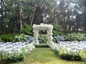 Our ethereal baby's breath chuppah and the ceremony setup. Fête purposely put lots of extra seating so that guests could socially distance and also be able to sit where they want.