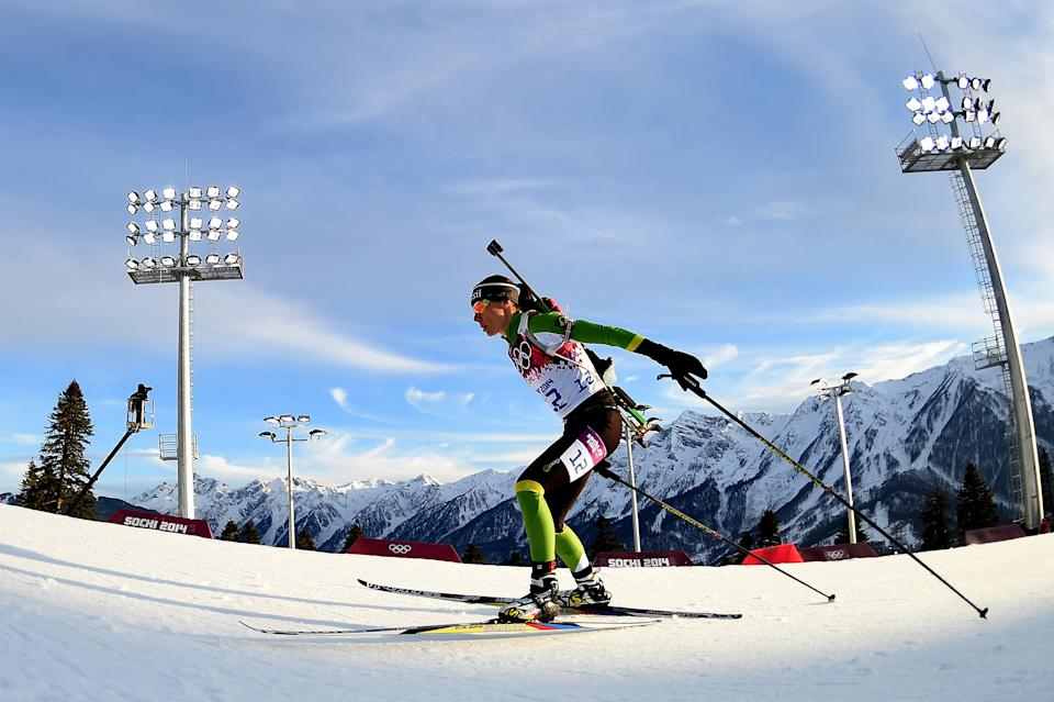 SOCHI, RUSSIA - FEBRUARY 14: Jaqueline Mourao of Brazil competes in the Women's 15 km Individual during day seven of the Sochi 2014 Winter Olympics at Laura Cross-country Ski & Biathlon Center on February 14, 2014 in Sochi, Russia.  (Photo by Harry How/Getty Images)