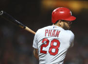 St. Louis Cardinals' Tommy Pham follows through on an RBI single off San Francisco Giants' Ty Blach during the sixth inning of a baseball game Thursday, July 5, 2018, in San Francisco. (AP Photo/Ben Margot)