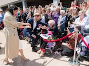<p>On a walkabout near the Sydney Opera House, Harry greeted war widow Daphne Dunne - who he has met several times before - with a hug before inviting his wife over to meet the royal fan. Meghan knelt down to hug, hold hands and speak with the 98-year old.</p>
