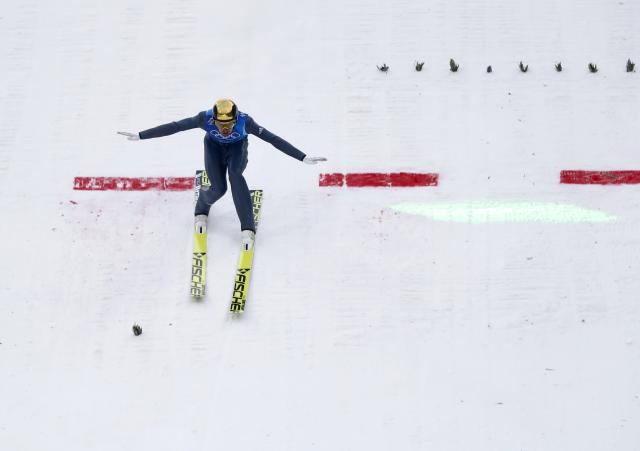 Nordic Combined Events - Pyeongchang 2018 Winter Olympics - Men's Team Gundersen LH Competition - Alpensia Ski Jumping Centre - Pyeongchang, South Korea - February 22, 2018 - Johannes Rydzek of Germany competes. REUTERS/Kai Pfaffenbach