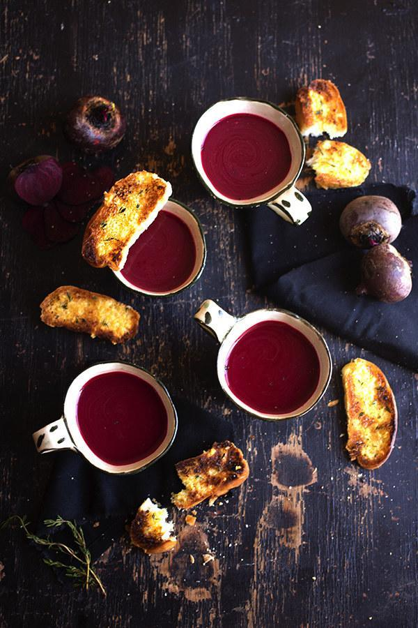 Chilled Beetroot Soup with Garlic and Thyme Toasts