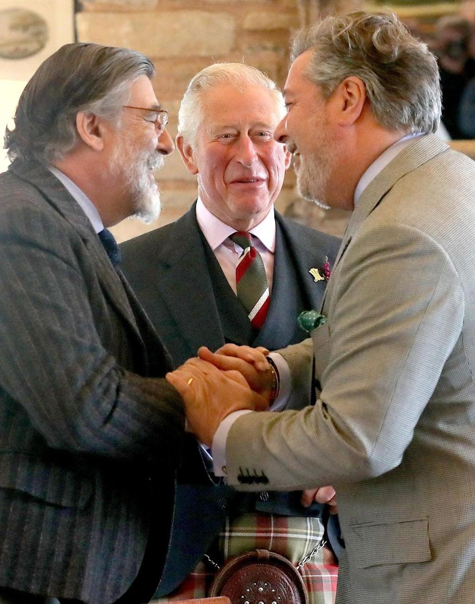 The Prince of Wales with Lord Thurso (left) and Michael Fawcett (right) (Andrew Milligan/PA) (PA Wire)