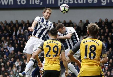 West Bromwich Albion's Craig Dawson scores their third goal