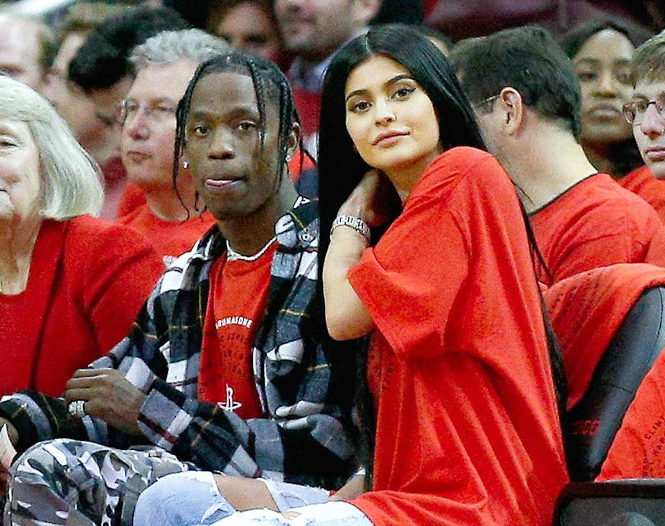 Travis Scott and Kylie Jenner go public with their romance in April 2017. (Photo: Bob Levey/Getty Images)