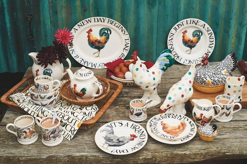 "<p>The classic Rise and Shine range is here to stay, thanks to its popularity. Some new additions include a <a href=""https://go.redirectingat.com?id=127X1599956&url=https%3A%2F%2Fwww.emmabridgewater.co.uk%2Fproducts%2Frise-shine-make-this-day-wonderful-6-12-inch-plate&sref=https%3A%2F%2Fwww.housebeautiful.com%2Fuk%2Flifestyle%2Fshopping%2Fg35264783%2Femma-bridgewater-spring%2F"" rel=""nofollow noopener"" target=""_blank"" data-ylk=""slk:gorgeous statement cockerel plate"" class=""link rapid-noclick-resp"">gorgeous statement cockerel plate</a> (£12.95) and a must-have '<a href=""https://go.redirectingat.com?id=127X1599956&url=https%3A%2F%2Fwww.emmabridgewater.co.uk%2Fproducts%2Frise-shine-eggs-toast-12-pint-mug&sref=https%3A%2F%2Fwww.housebeautiful.com%2Fuk%2Flifestyle%2Fshopping%2Fg35264783%2Femma-bridgewater-spring%2F"" rel=""nofollow noopener"" target=""_blank"" data-ylk=""slk:eggs, toast, newspaper and coffee' mug"" class=""link rapid-noclick-resp"">eggs, toast, newspaper and coffee' mug</a> (£19.95). </p><p><a class=""link rapid-noclick-resp"" href=""https://go.redirectingat.com?id=127X1599956&url=https%3A%2F%2Fwww.emmabridgewater.co.uk%2Fcollections%2Fnew&sref=https%3A%2F%2Fwww.housebeautiful.com%2Fuk%2Flifestyle%2Fshopping%2Fg35264783%2Femma-bridgewater-spring%2F"" rel=""nofollow noopener"" target=""_blank"" data-ylk=""slk:BUY NOW"">BUY NOW</a><strong><br><br>Like this article? <a href=""https://hearst.emsecure.net/optiext/cr.aspx?ID=DR9UY9ko5HvLAHeexA2ngSL3t49WvQXSjQZAAXe9gg0Rhtz8pxOWix3TXd_WRbE3fnbQEBkC%2BEWZDx"" rel=""nofollow noopener"" target=""_blank"" data-ylk=""slk:Sign up to our newsletter"" class=""link rapid-noclick-resp"">Sign up to our newsletter</a> to get more articles like this delivered straight to your inbox.</strong></p><p><a class=""link rapid-noclick-resp"" href=""https://hearst.emsecure.net/optiext/cr.aspx?ID=DR9UY9ko5HvLAHeexA2ngSL3t49WvQXSjQZAAXe9gg0Rhtz8pxOWix3TXd_WRbE3fnbQEBkC%2BEWZDx"" rel=""nofollow noopener"" target=""_blank"" data-ylk=""slk:SIGN UP"">SIGN UP</a></p><p>In need of some positivity or not able to make it to the shops? <a href=""https://go.redirectingat.com?id=127X1599956&url=https%3A%2F%2Fwww.hearstmagazines.co.uk%2Fhb%2Fhouse-beautiful-magazine-subscription-website&sref=https%3A%2F%2Fwww.housebeautiful.com%2Fuk%2Flifestyle%2Fshopping%2Fg35264783%2Femma-bridgewater-spring%2F"" rel=""nofollow noopener"" target=""_blank"" data-ylk=""slk:Subscribe to House Beautiful magazine today"" class=""link rapid-noclick-resp"">Subscribe to House Beautiful magazine today</a> and get each issue delivered directly to your door. </p>"