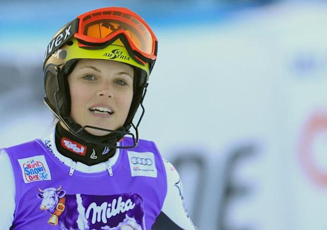 Austria's Anna Fenninger, seen in the finish area after competing in the slalom race as part of the Women's Super Combined event of the FIS World Cup, in Altenmarkt Zauchensee, Austria, on January 12, 2014