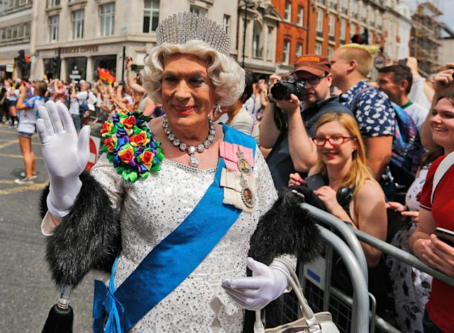 <p>A reveler dressed as the Queen enjoys the Pride London Parade in London, Saturday, July 8, 2017. (Photo: Frank Augstein/AP) </p>