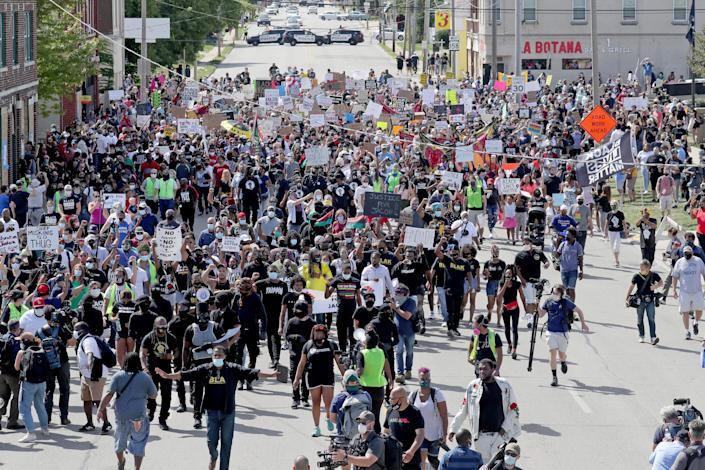 A Justice for Jacob Blake March and rally in Kenosha on Aug. 29, 2020, in Kenosha, Wisconsin.
