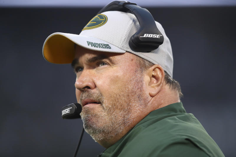 FILE - In this Aug. 24, 2018, file photo, Green Bay Packers head coach Mike McCarthy watches during the first half of an NFL preseason football game against the Oakland Raiders, in Oakland, Calif. The Dallas Cowboys didn't take long to settle on Mike McCarthy as their coach after waiting a week to announce they were moving on from Jason Garrett. McCarthy, who won a Super Bowl at the home of the Cowboys nine years ago as Green Bay's coach, has agreed to become the ninth coach in team history, a person with direct knowledge of the deal said Monday, Jan. 6, 2020. The person spoke to The Associated Press on condition of anonymity because the team hasn't announced the move. (AP Photo/Ben Margot, File)