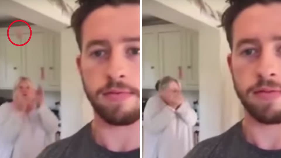 The mischievous son and his quick-thinking mum have become internet sensations overnight. Photo: YouTube