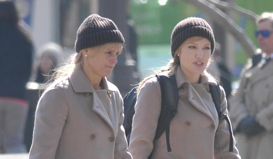 <p>Angie's double Eunice Huthart got her break as a stuntwoman after winning TV show 'Gladiators' back in the 1990s.</p><p>She's since gone to stand in for Jolie several times, as well as becoming a successful stunt co-ordinator in her own right on movies like 'Pan' and 'In the Heart of the Sea'.</p><p>Here she is with the actress during the shooting of spy flick 'Salt'.</p>