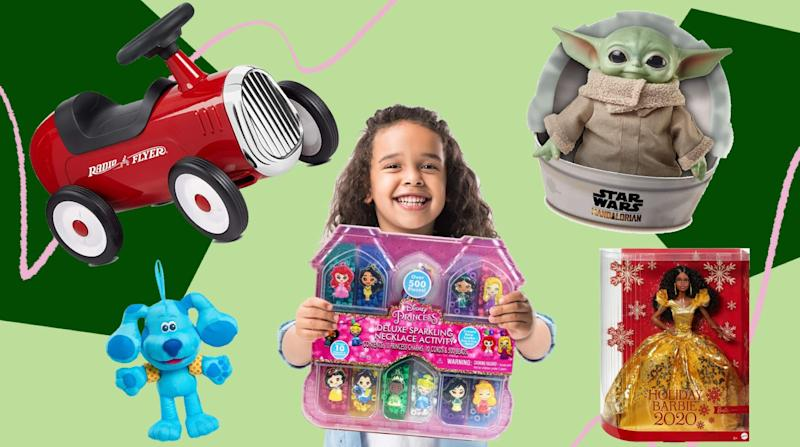 These are the top toys your kids will want on their wish list this year, including a holiday edition of Barbie and Baby Yoda plush. (Photo: HuffPost )
