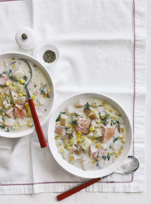 """<p>Cozy up with a big bowl of creamy, rich fish chowder and warm up on a cold, dark night (or a hot, steamy night when the a.c. is going full blast). </p><p><em><a href=""""https://www.womansday.com/food-recipes/food-drinks/recipes/a13419/creamy-salmon-chowder-recipe-wdy0215/"""" rel=""""nofollow noopener"""" target=""""_blank"""" data-ylk=""""slk:Get the recipe for Creamy Salmon Chowder"""" class=""""link rapid-noclick-resp"""">Get the recipe for Creamy Salmon Chowder</a></em></p>"""
