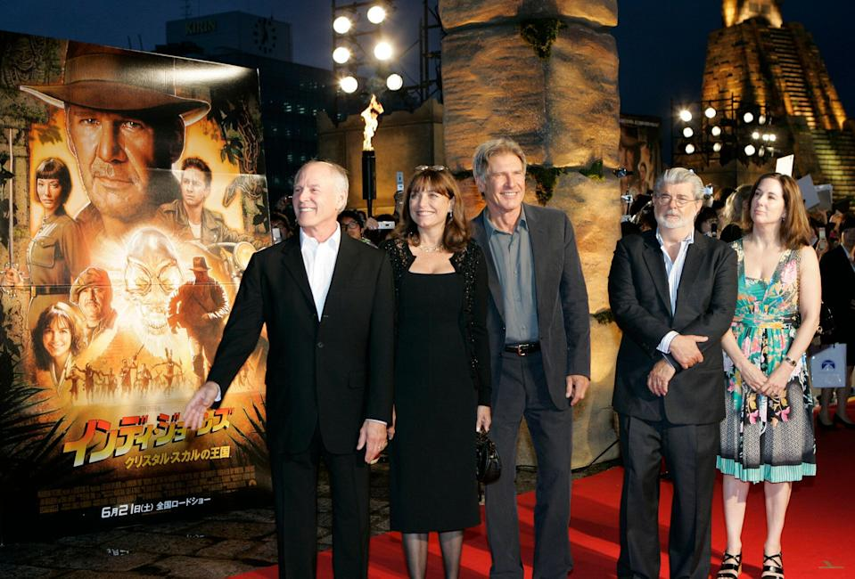 """Actor Harrison Ford, center, executive producer and writer George Lucas, second from right, co-star Karen Allen, second from left, and producers Frank Marshall, left, and Kathleen Kennedy, stand together at the premiere of """"Indiana Jones and the Kingdom of the Crystal Skull"""" in Tokyo, Thursday, June 5, 2008. (AP Photo/Shizuo Kambayashi)"""