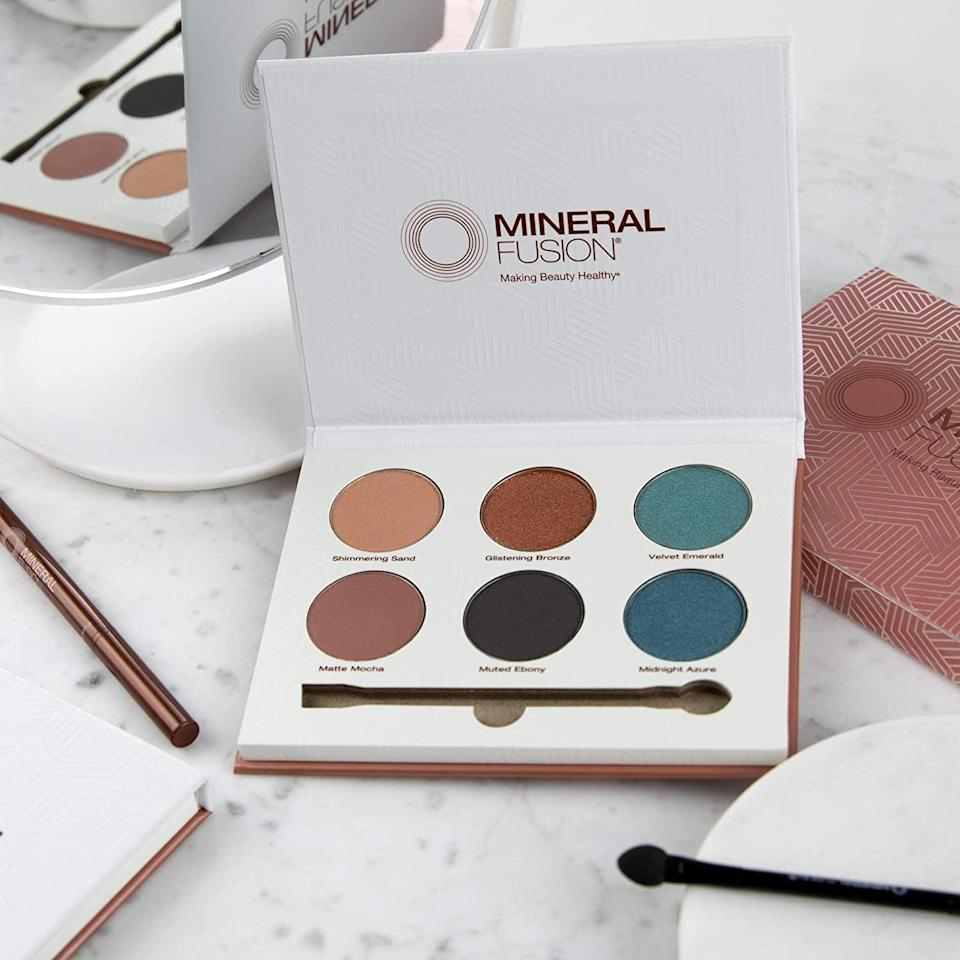 <p>You can create so many bold looks with the <span>Mineral Fusion Limited Edition Velvet Eye Shadow Palette</span> ($13, originally $25).</p>