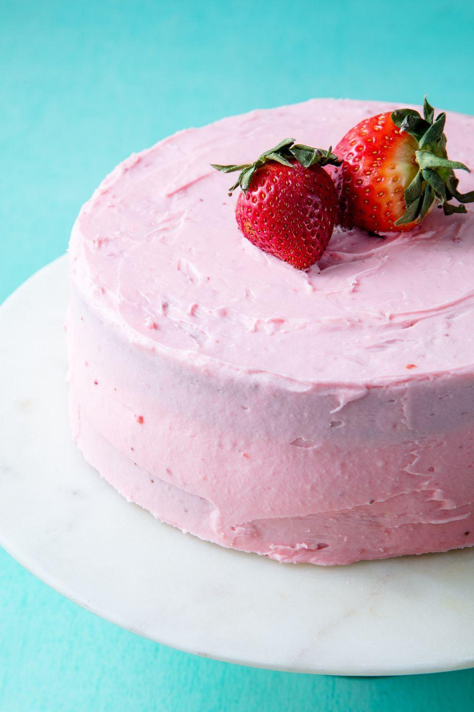 """<p>What's cuter than a pink cake?</p><p>Get the recipe from <a href=""""https://www.delish.com/cooking/recipe-ideas/a19624120/homemade-strawberry-cake-recipe/"""" rel=""""nofollow noopener"""" target=""""_blank"""" data-ylk=""""slk:Delish"""" class=""""link rapid-noclick-resp"""">Delish</a>.</p>"""