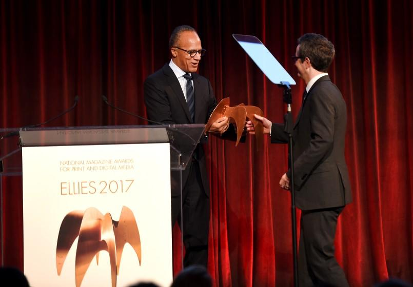 NEW YORK, NY - FEBRUARY 07: Douglas McGray accepts the Design award on behalf of The California Sunday Magazine from Lester Holt during Ellie Awards 2017 at Cipriani, Wall Street on February 7, 2017 in New York City. (Photo by Nicholas Hunt/Getty Images for The Ellies )