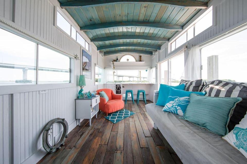 """<p>airbnb.com</p><p><strong>$346.00</strong></p><p><a href=""""https://www.airbnb.com/rooms/695655"""" rel=""""nofollow noopener"""" target=""""_blank"""" data-ylk=""""slk:BOOK NOW"""" class=""""link rapid-noclick-resp"""">BOOK NOW</a></p><p>Featured on HGTV, this boathouse on the Charleston Harbor welcomes guests with sunset views and is close enough to the historic city for explorers post-pandemic.</p>"""