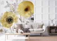"""<p>Go bold! Murals have really grown in popularity in recent years. With a big pattern like this, there is no need for artwork, the wallpaper does the talking, so it's designed to be used on one wall only. In yellow and grey, this wallpaper would be great teamed with a mustard armchair, cushions or rug.</p><p>'With trends like maximalism, murals work hand in hand to pack that punch and maximise your living space,' says Amy Hillary, Interiors Writer at <a href=""""https://www.wallsauce.com/"""" rel=""""nofollow noopener"""" target=""""_blank"""" data-ylk=""""slk:Wallsauce"""" class=""""link rapid-noclick-resp"""">Wallsauce</a>.</p><p>Pictured: Transparent Gold Wallpaper, <a href=""""https://www.wallsauce.com/designer-wallpaper-murals/carol-robinson-transparent-gold-wall-mural"""" rel=""""nofollow noopener"""" target=""""_blank"""" data-ylk=""""slk:Wallsauce"""" class=""""link rapid-noclick-resp"""">Wallsauce</a></p>"""