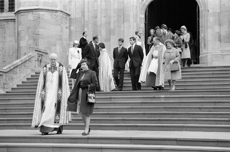 The Royal family pictured at St George's Chapel, Windsor, after the church service on 25 December 1983. Traditions moved to Sandringham in the 1990s. (Kent Gavin/Mirrorpix/Getty Images)