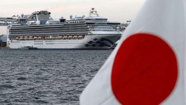 PHOTO: The Diamond Princess cruise ship is seen beside a Japanese flag as it lies at anchor at Daikoku Pier Cruise Terminal in Yokohama, south of Tokyo, Japanm Feb. 12, 2020. (Kim Kyung-hoon/Reuters)
