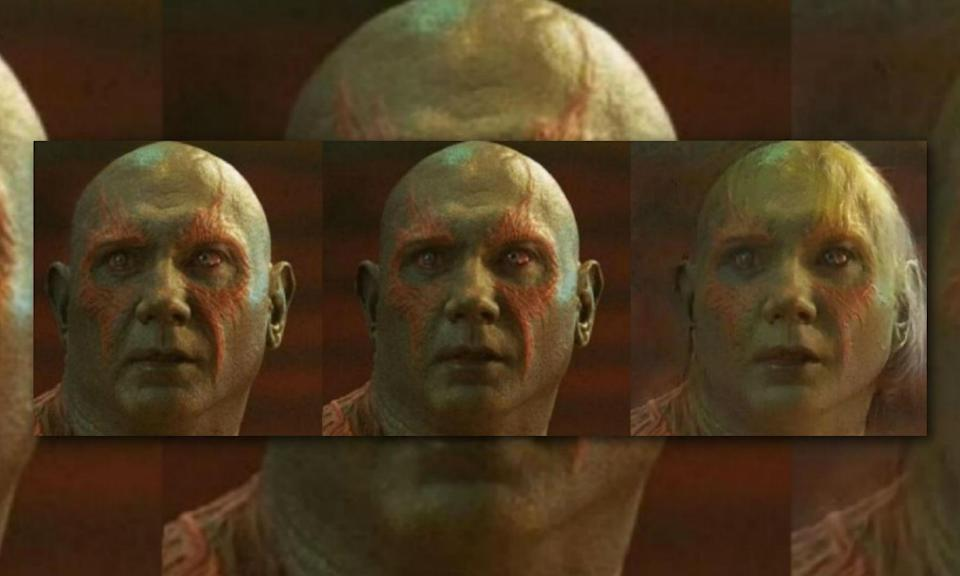 <p>Drax does not age and the only thing we say about his female form is that she's beautiful… on the inside. </p>